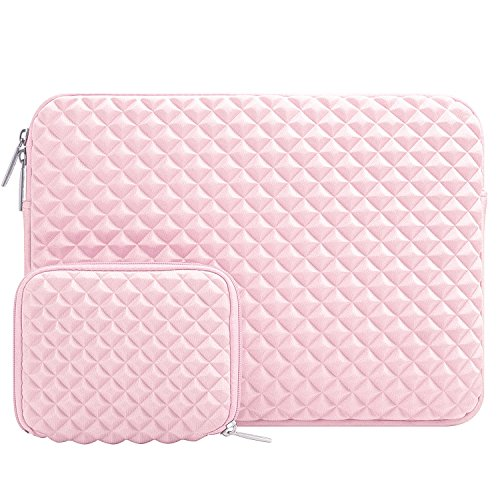 MOSISO Funda Protectora Compatible con 13-13,3 Pulgadas MacBook Air/MacBook Pro Retina/Surface Laptop 2 2018 2017/Surface Book 2/1, Diamante Espuma Agua Repelente Bolsa con Pequeño Caso, Cuarzo Rosa