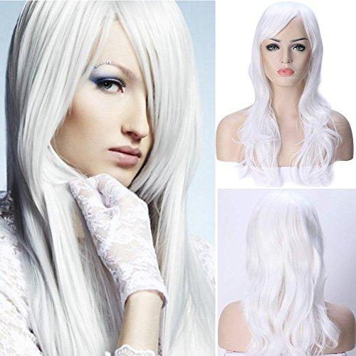 Parrucca lunga bianca da donna con frangia capelli mossi sintetici full wig ondulata riccia per travestimento cosplay carnevale halloween 58cm 23
