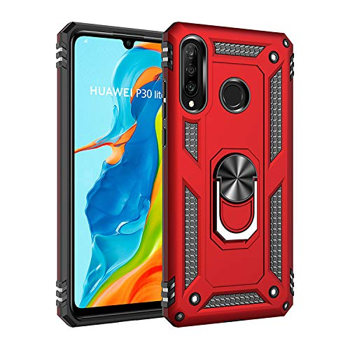 Wubaouk Huawei P30 Lite Hülle with Ring Holder, Rotating Kickstand Stand for Car Magnetic Mount Slim Soft Shockproof Silicone Gel TPU Phone Cover for Huawei P30 Lite Slim Mount Speakers