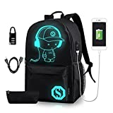 Luminous School Backpack - Horsky Anime Luminous Shoulder Bag lightweight with Laptop Compartments for Students Teens Boy Girl Book Laptop Travel Camping 35L(L with pencil case lock)