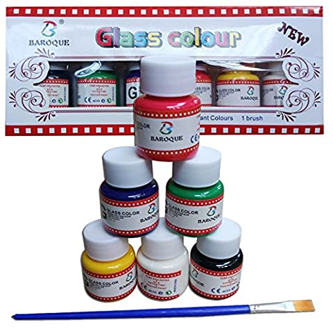Magicdo Professional Stain Glass Paint Set, 6 Colours Paint on Glass Craft, Safe Non Toxic Glass Colour, Rich Pigment Transparent Glass painting Kit For Kids, Beginners & Artist, 6 Bottles + 1
