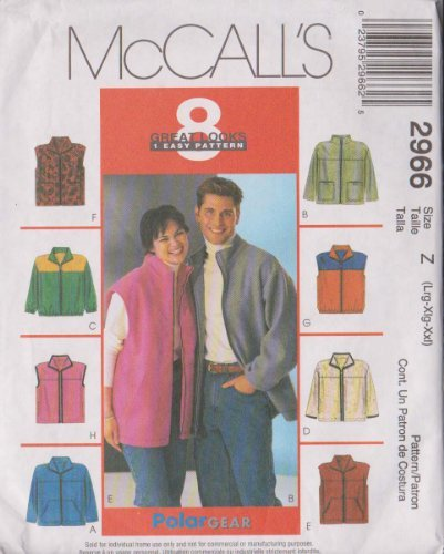misses-mens-and-teen-boys-unlined-jacket-or-vest-mccalls-sewing-pattern-2966-size-z-lrg-xlg-xxl-by-m
