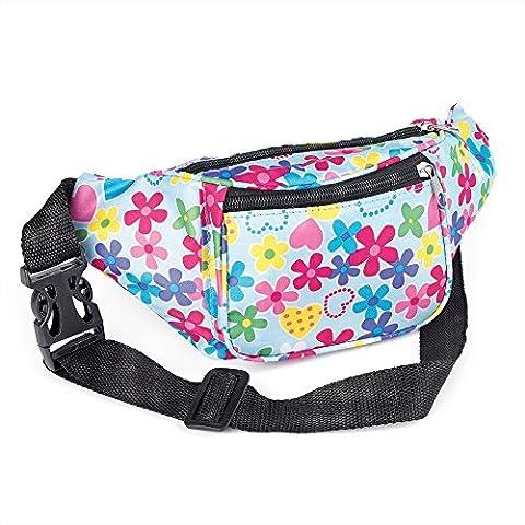 Blue & Pink Flower Design Fabric Bum Bag / Fanny Pack - Festivals /Club Wear/ Holiday Wear