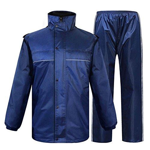 Keliour Blau Männer und Frauen im Freien Wasserdichte Regenjacke Anzug mit Kapuze Poncho Wasserdichte Overalls Leichte Wasserdichte Regenjacke (Größe : XXXL)