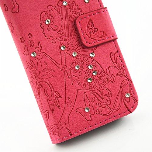iPhone se Coque Housse Iphone 5S, saincat Apple iPhone se/5S/5étui en cuir portefeuille BookStyle PU cuir Wallet Case Étui en cuir Folio Relief empreinte papillon Coque bumper Bling Strass Diamant Ho Papillons,rose rouge