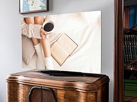 screencover - dekorative Abdeckung für Ihren Fernseher, alle Zollgrößen möglich, Material Hartschaum weiß mit Motiv Relax, Größe 32'' TV (83cm x 51cm)