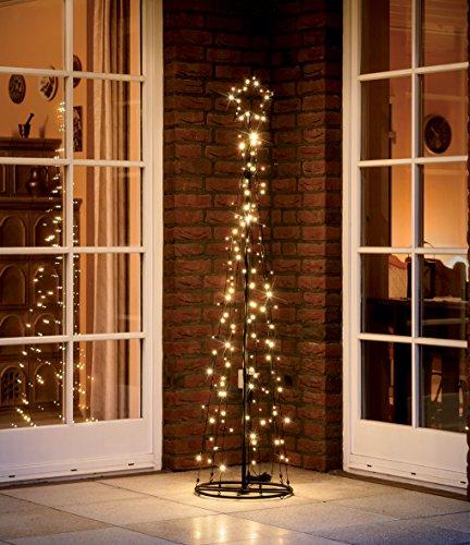 LED Metall-Tannenbaum | mit warmweißen LED beleuchtet | Lichterbaum - Weihnachtsbaum für den Innen und geschützten Außenbereich (150 cm / 130 LED)