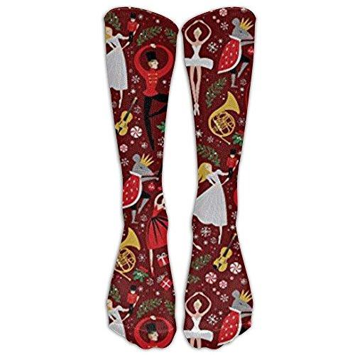 NEW Nutcracker Fabric Clara S Nutcracker Ballet Red Med Athletic Tube Stockings Women's Men's Classics Knee High Socks Sport Long Sock One Size 19.68 inch