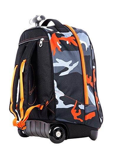 Imagen de trolley  invicta  camouflage  con ruedas y correas de hombro ocultables negro naranja 35lt alternativa