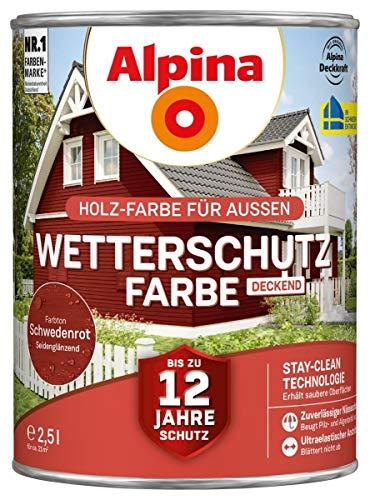 Alpina Wetterschutzfarbe Schwedenrot seidenmatt 2,5l