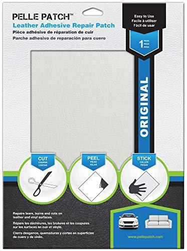 Pelle Patch - Toppa Adesivo per Riparare Pelle e Vinile - 25 Colori Disponibili - Original 20cm x 28cm - Bianco