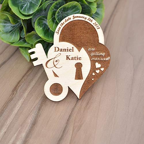 CPWood Save The Date Magnete aus Holz, Save The Date, Hochzeits-Magnete, speichern Sie das Datum, personalisierte Holz-Magnete, einzigartige Save The Date, (Holz-save The Date)