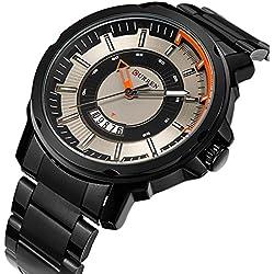 Sport Men Quartz Watch Luxury Alloy Strap Calendar Casual Wristwatch,Black