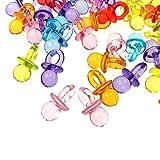 JZK 100x Mini Deko Schnuller, Tischdeko Konfetti Dekoration Confetti Mitgebsel Geschenk für Taufe Baby Shower Babyparty Hochzeit Geburtstag Kinder Party, bunt