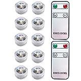 Paquete de 10 LED vela candelita blanco cálido, Mini LED Luz Sumergible con mando a distancia para Vaso, Tazones, Piscina, Acuario y Decoración de Fiesta