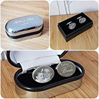 Wedding Cufflinks Personalised - Engraved with Photos, Hand and footprints and Text. Gifts for Him, Birthday, Valentines, Wedding Favours, Groom, Usher, Father of the Bride Gifts