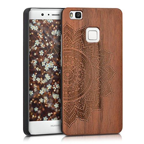 Kwmobile custodia in legno per huawei p9 lite cover rigida - protezione per cellulare case design semi-fiore noce
