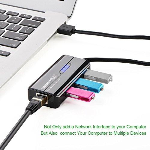 UGREEN 3 Port USB 3.0 Hub mit Gigabit Ethernet Netzwerkadapter Lan RJ45 Adapter 10/100/1000 für Windows 10/8.1/8/7/XP/Vista,Mac OS 10.5 und so weiter,Linux,Chrome OS usw Schwarz