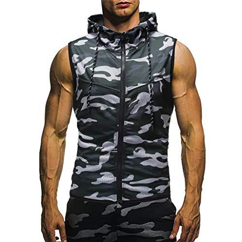 Kanpola Herren Coole T-Shirt Mit Kapuze Camouflage Hoodie MäNner Bedruckt Tank Top mit ReißVerschluss Sommer - Top Tank Männer Lustig
