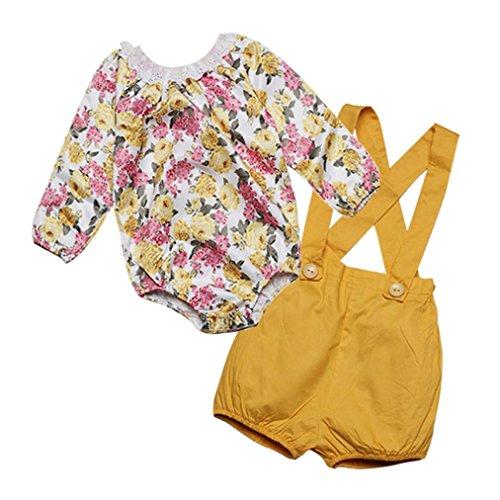 Kleinkind Kinder Baby Mädchen Outfits Kleider Hirolan Spitze Blumen Strampelhöschen Tops + Shorts Hose Set (Gelb, 90cm) (Halloween Kostüme 3t Boy)