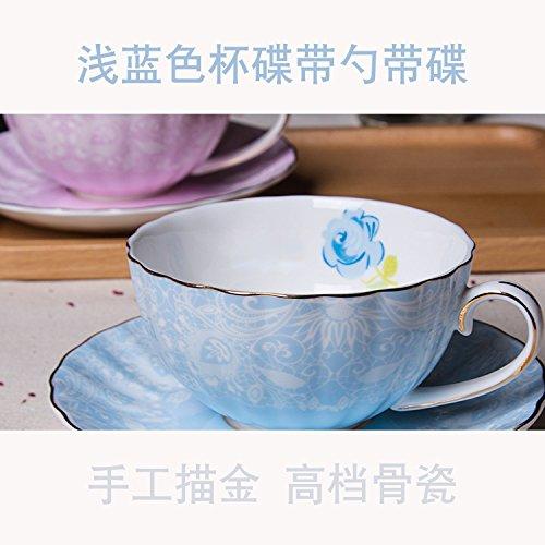 LOYWT European Style Kaffeetasse Set, Gilts Bone China Cup, Blumen-Tee-Cup, Löffel Cup, Afternoon Tea Cup, Schwarzer Tee-Cup, Light Blue 1 Cup And 1 Saucers 1 Löffel Light Blue Cup