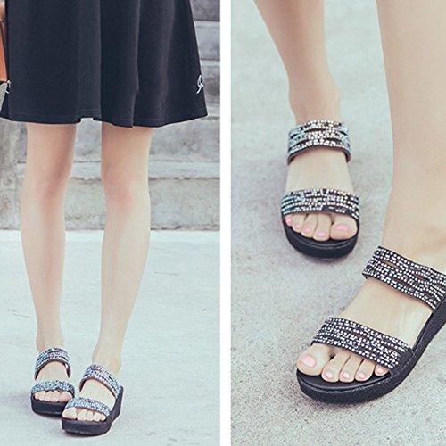ZHANGRONG-- Pantoufles de paillettes d'été Tissu avec chaussures Sandales pantoufles (3 couleurs en option) (taille facultative) ( Couleur : A , taille : 34 ) B