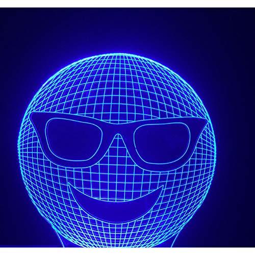 Neue 3D Lustige Coole Lachen Sonnenbrille Ausdruck Nachtlichter Führte Bunte Gradient Stimmung Tisch Schreibtischlampe Kinder Geschenke Schlafzimmer Lampara Decor