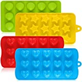 Silicona Chocolate Candy moldes, aifuda 4paquetes antiadherente para hornear moldes Ice Cube bandejas para hacer para tartas magdalenas Cupcake Gumdrop Jelly–En forma de corazón, estrella y carcasa
