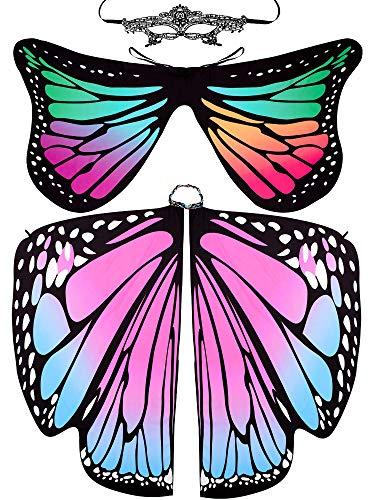 Whaline 2 Stück Schmetterlingsflügel Weiche Schmetterlinge Halloween Kostüm Schal Umhang Cape Fairy Lady Nymphe Pixie mit 1 Stück Spitze Maske für Frauen Mädchen Festivals Weihnachten Tanzparty (Weichen Schmetterlingsflügel Kostüm)