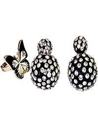 Wedding Collection Chooz Designer Studio Bollywood Style Black Drop Earrings Bali Stud Ear Cuff Jhumki With Black...