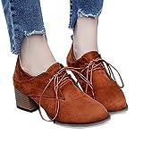 OSYARD Damen Schnürstiefelett Kurze Stiefel,Chelsea Boots Gummistiefel Elegant Frauen High Heel Shoes Lace-Up Freizeitschuhe Wildleder Boots Ankle Stiefeletten (230/37, Braun)
