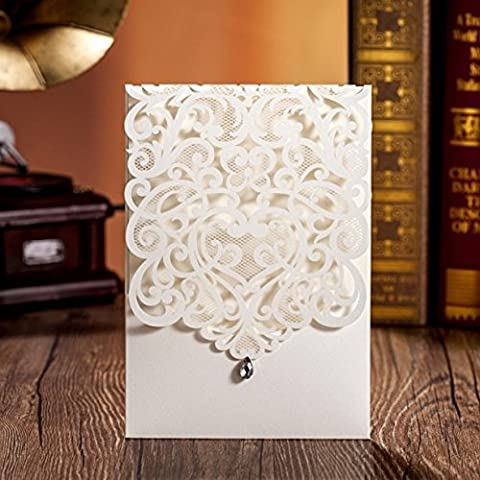 20 X Elegant White Laser Cut Wedding Invitation Cards with Diamond Decoration, FREE matching envelop, FREE matching blank insert card and FREE