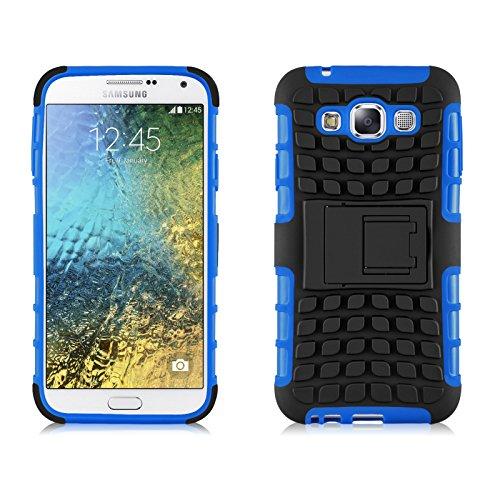 JAMMYLIZARD Outdoor Hülle für Samsung Galaxy E5   Schutzhülle [Alligator] Doppelschutz Handyhülle Hardcase aus Polycarbonat und Silikon Backcover Lifeproof Case Cover, Blau