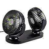 Geekerchip Ventilateur de Voiture USB à Double tête , Vent Puissant - Faible consommation d'énergie - Rotation de la Famille et de la Voiture à Double Fan.Rotation de 350 degrés....