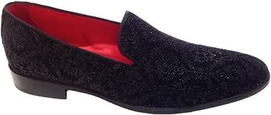 Scarpe Uomo Classiche, Mocassino Slippers, Pantofola in Velluto Damascato