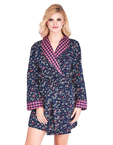 Mio Lounge Bobbie Pink and Blue Floral Check Soft Brushed Cotton Robe ML16C6RB L-XL (Robe Floral Blue)