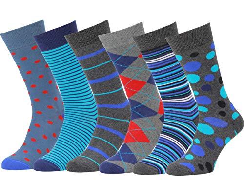 Easton Marlowe 6 Paar Bunt Gemusterte Herren Socken - 6pk 24, gemischt - neutrale Hauptfarben, 43-46 EU Schuhgröße -