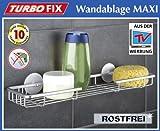 Quantio WENKO TurboFIX Wandablage Maxi - Aluminium - 45 x 12 x 4,5 cm - OHNE Bohren - Badablage - Badregal - Regal - Duschablage