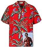 Tom Selleck Original Hawaiihemd, Kurzarm, Jungle Bird, Rot, S