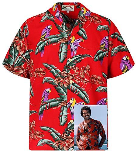 Tom Selleck Original Hawaiihemd, Kurzarm, Jungle Bird, Rot, XL (Einfach Original Kostüm)