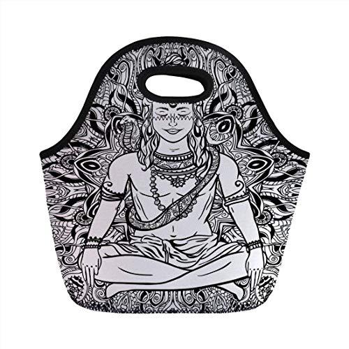 Portable Bento Lunch Bag,Yoga,Asian Lord with Third Eye on Forehead Snake on His Neck Boho Mandala Sketchy Print,Black White,for Kids Adult Thermal Insulated Tote Bags