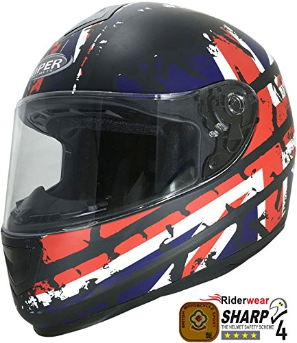 Viper rs-250 Union Jack Motorrad Full Face Crash Helm Scooter NEU und Sturmhaube (British Open Flag)