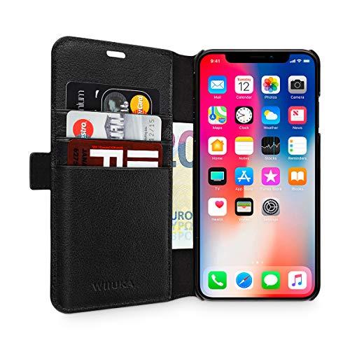 WIIUKA Echt Ledertasche - TRAVEL Away - für Apple iPhone X & XS mit Vier Kartenfächern, kabelloses Laden Qi, extra Dünn, Tasche Schwarz, Leder Hülle kompatibel mit iPhone X/XS