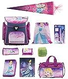 Familando Disney Cinderella Schulranzen Set 15tlg mit Dose/Flasche Sporttasche Schultüte 85cm Regen-/Sicherheitshülle Federmappe gefüllt E-CI-17