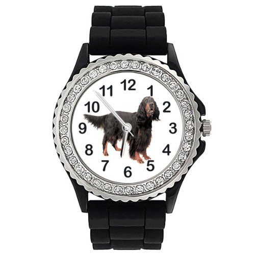 gordon-setter-dog-crystal-rhinestone-jelly-silicone-wrist-watch