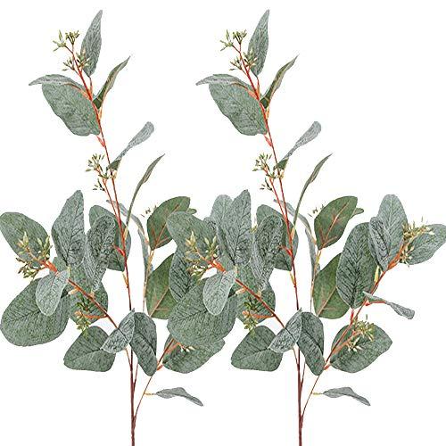 Aisamco 3 Stück Künstliche Samen Eukalyptus Blätter Spray Faux Künstliche Eukalyptus Vorbauten Groß in Grau Grün 33