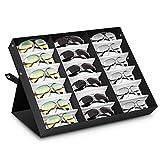 Amzdeal Brillenbox zur Aufbewahrung 18 Brillens Sunglass 47 x 37 x 6 cm Zusammenklappbar und multifunktional Brillendisplay für Brillen, Schmuck, Uhren Usw