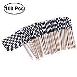 ULTNICE Pack von 100 Racing Flag Picks Flags Toothpicks Obst Appetizer Sticks für Cocktailparty - schwarz und weiß