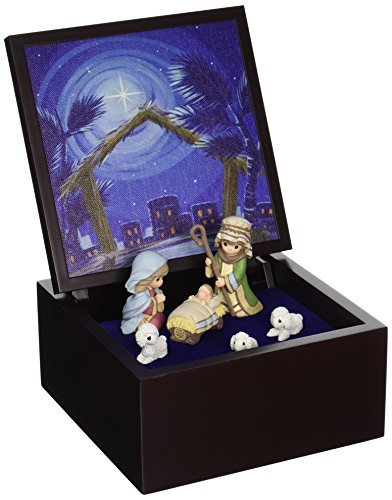Precious Moments, Christmas Gifts, Heirloom Nativity Set Deluxe Music Box, LED Stars, Plays Silent Night, #161106 by Precious Moments