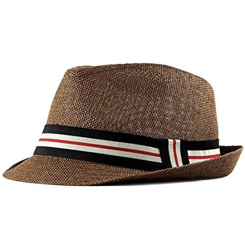 Charmylo Sommer Panama Strohhut Herren Damen Fedora Sonnenhut mit Jazz-Stil Trilby Kappe mit Kinnband zum Wandern und Arbeiten 56-58cm Safari Panama